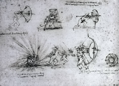 Kunstdruck, individuelle Kunstkarte: Leonardo da Vinci, Study with Shields for Foot Soldiers and an Exploding Bomb, c.1485-88