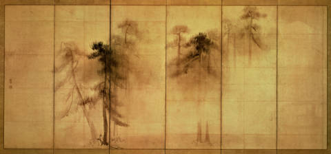 Kunstdruck, individuelle Kunstkarte: Unbekannt, The forest of pines by Hasagawa Tohaku (16th century)