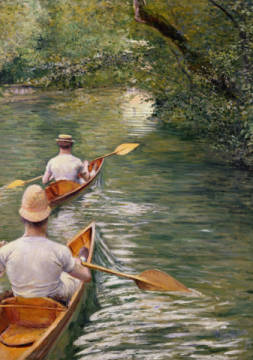 The Canoes, 1878 of artist Gustave Caillebotte as framed image