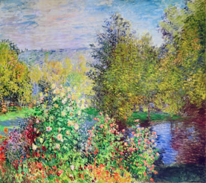 A Corner of the Garden at Montgeron, 1876-7 of artist Claude Monet as framed image