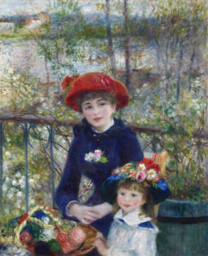 Two Sisters, or On The Terrace, 1881 von Künstler Pierre Auguste Renoir als gerahmtes Bild
