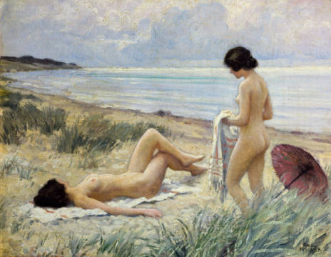 Kunstdruck, individuelle Kunstkarte: Paul Fischer, Summer on the Beach