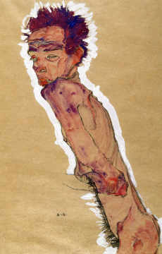Self Portrait Nude, 1910 of artist Egon Schiele as framed image