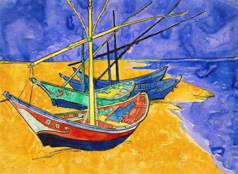 Kunstdruck, individuelle Kunstkarte: Vincent van Gogh, Fishing Boats on the Beach at Saintes-Maries-de-la-Mer