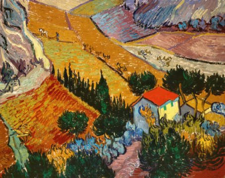 Landscape with House and Ploughman, 1889 of artist Vincent van Gogh as framed image