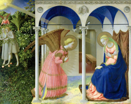 The Annunciation, c.1430-32 of artist Fra Angelico as framed image