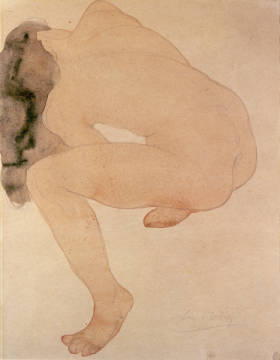 Fine Art Reproduction, individual art card: Auguste Rodin, Seated nude bending over