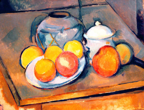 Kunstdruck, individuelle Kunstkarte: Paul Cézanne, Straw-covered vase, sugar bowl and apples, 1890-93