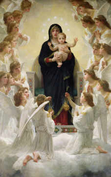 The Virgin with Angels, 1900 von Künstler William-Adolphe Bouguereau als gerahmtes Bild