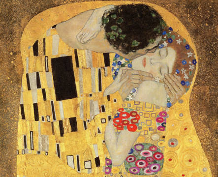 Detail of The Kiss, 1907-08 of artist Gustav Klimt as framed image