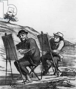 Cartoon lampooning landscape painters, from 'Charivari' magazine, 12 May, 1865 of artist Honore Daumier as framed image
