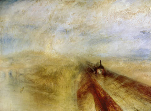 Rain Steam and Speed, The Great Western Railway, painted before 1844 von Künstler Joseph Mallord William Turner als gerahmtes Bild