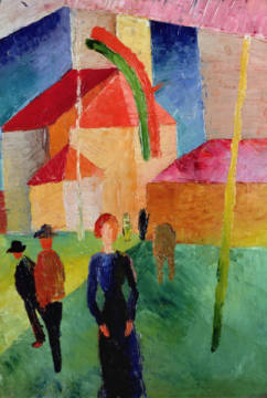 Kunstdruck, individuelle Kunstkarte: August Macke, Church Decorated with Flags