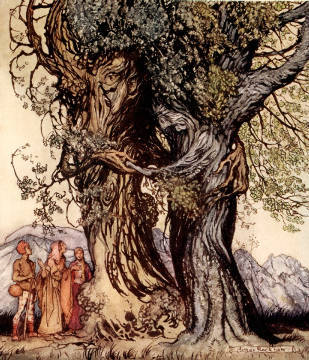 Kunstdruck, individuelle Kunstkarte: Arthur Rackham, I am old Philemon! murmured the oak, illustration from 'A Wonder Book for Girls and Boys' by Nathaniel Hawthorne, 1928
