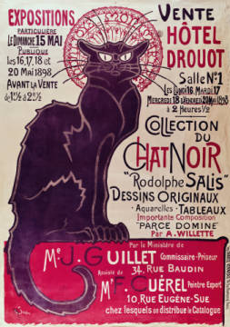 Kunstdruck, individuelle Kunstkarte: Theophile-Alexandre Steinlen, Poster advertising an exhibition of the 'Collection du Chat Noir' cabaret at the Hotel Drouot, Paris, May 1898