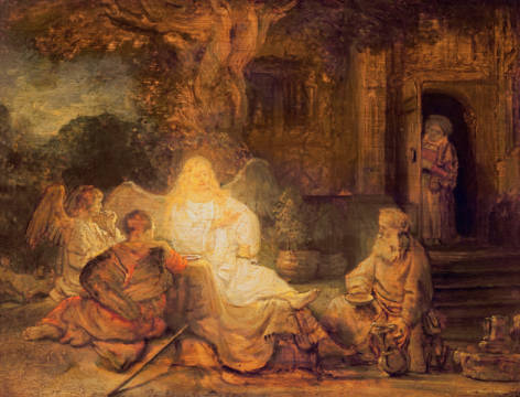 Kunstdruck, individuelle Kunstkarte: Harmensz van Rijn Rembrandt, Abraham Receives the Three Angels