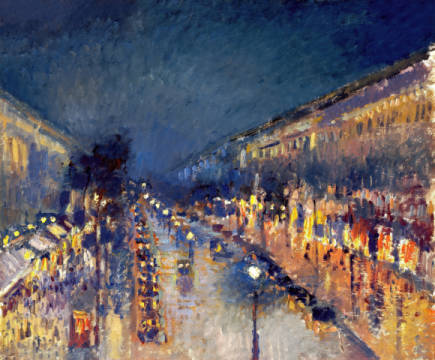 Kunstdruck, individuelle Kunstkarte: Camille Pissarro, The Boulevard Montmartre at Night, 1897