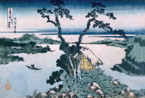 The Suna Lake of artist Katsushika Hokusai as framed image