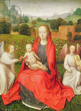 Virgin and Child between two angels, c.1480s von Künstler Hans Memling als gerahmtes Bild