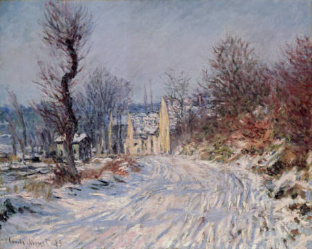 Kunstdruck, individuelle Kunstkarte: Claude Monet, The Road to Giverny, Winter, 1885