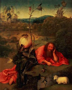 St. John the Baptist in Meditation of artist Hieronymus Bosch as framed image