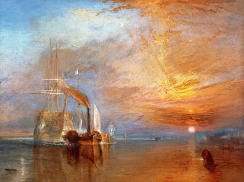 The 'Fighting Temeraire' Tugged to her Last Berth to be Broken up, before 1839 von Künstler Joseph Mallord William Turner als gerahmtes Bild