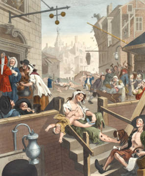 Gin Lane, illustration from 'Hogarth Restored: The Whole Works of the celebrated William Hogarth, re-engraved by Thomas Cook', p von Künstler William Hogarth als gerahmtes Bild