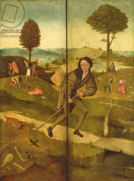 The Haywain, with panels closed showing Everyman walking the Path of Life von Künstler Hieronymus Bosch als gerahmtes Bild