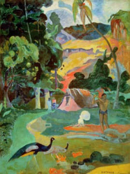 Fine Art Reproduction, individual art card: Paul Gauguin, Matamoe or, Landscape with Peacocks, 1892