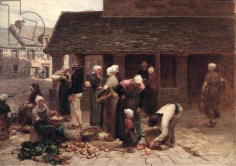 The Market Place of Ploudalmezeau, Brittany, 1877 of artist L�on-Augustin Lhermitte as framed image