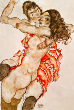 Kunstdruck, individuelle Kunstkarte: Egon Schiele, Two Girls Embracing, 1915