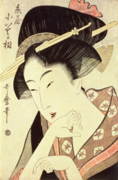 Kunstdruck, individuelle Kunstkarte: Kitagawa Utamaro, Bust portrait of the heroine Kioto of the Itoya