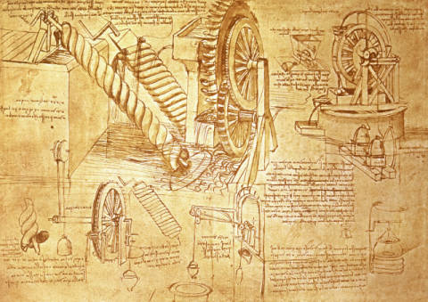 Kunstdruck, individuelle Kunstkarte: Leonardo da Vinci, Facsimile of Codex Atlanticus f.386r Archimedes Screws and Water Wheels (original copy in the Biblioteca Ambosiana, Milan, 1503/