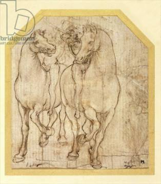 Kunstdruck: Leonardo da Vinci, Study of Horses and Riders, c.1480