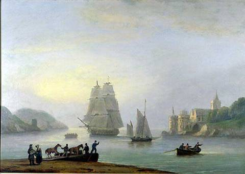 A Brig Entering Dartmouth Harbour, with a Ferry in the Foreground, 1828 von Künstler Thomas Luny als gerahmtes Bild