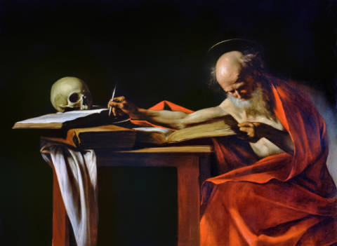 St Jerome Writing, c.1604 of artist Michelangelo Merisi da Caravaggio as framed image