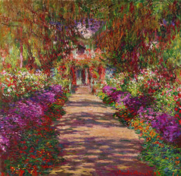 digitaler Kunstdruck, individuelle Kunstkarte: Claude Monet, A Pathway in Monet's Garden, Giverny, 1902