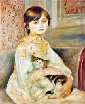 Kunstdruck, individuelle Kunstkarte: Pierre Auguste Renoir, Julie Manet with Cat, 1887