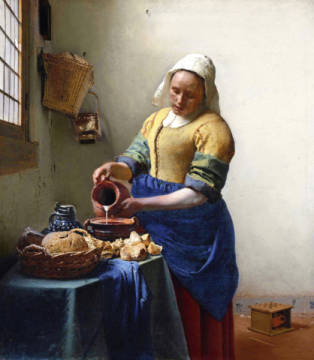 The Milkmaid, c.1658-60 of artist Jan Vermeer van Delft as framed image