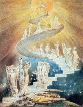 Kunstdruck, individuelle Kunstkarte: William Blake, Jacob's Ladder