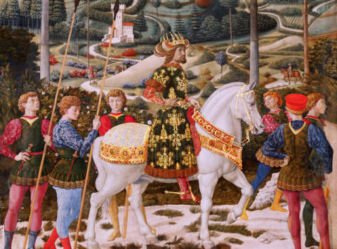 Detail of John VII Palaeologus (1391-1448), Eastern Roman Emperor, as one of the Three Kings, detail from the Journey of the Mag von Künstler Benozzo di Lese di Sandro Gozzoli als gerahmtes Bild