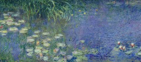 Kunstdruck, individuelle Kunstkarte: Claude Monet, Waterlilies: Morning, 1914-18