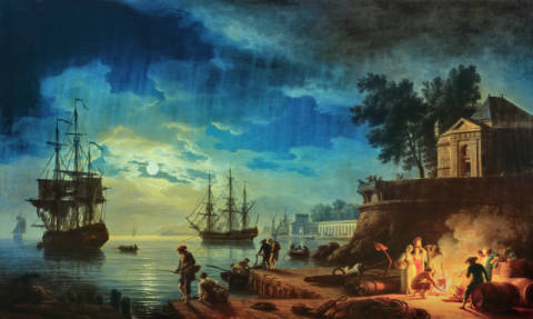 Fine Art Reproduction, individual art card: Claude Joseph Vernet, Night: A Port in the Moonlight, 1748