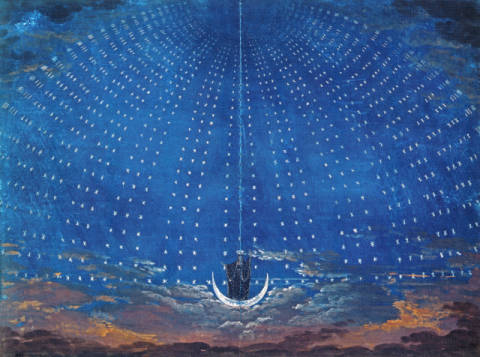 Kunstdruck, individuelle Kunstkarte: Karl Friedrich Schinkel, The Palace of the Queen of the Night, set design for 'The Magic Flute' by Wolfgang Amadeus Mozart (1756-91) for a production in