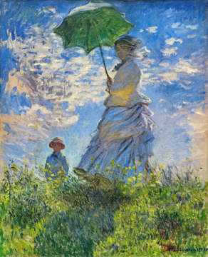 Woman with a Parasol - Madame Monet and Her Son, 1875 von Künstler Claude Monet als gerahmtes Bild