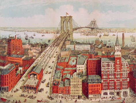 digitaler Kunstdruck, individuelle Kunstkarte: R. nach Schwarz, Brooklyn Bridge, c.1883