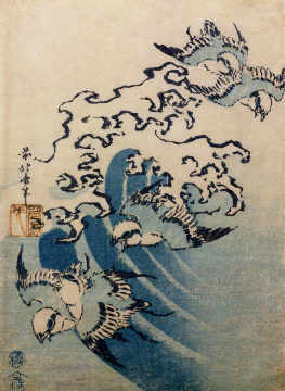 Kunstdruck, individuelle Kunstkarte: Katsushika Hokusai, Waves and Birds, c.1825