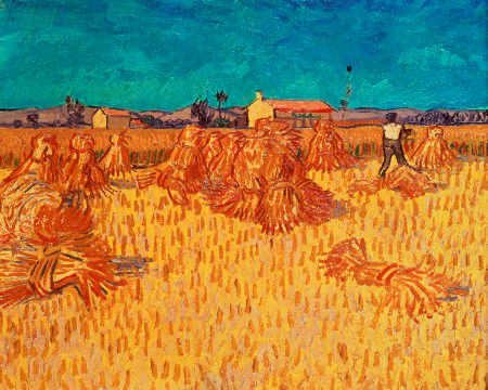 Kunstdruck, individuelle Kunstkarte: Vincent van Gogh, Wheat Field with Sheaves, 1888
