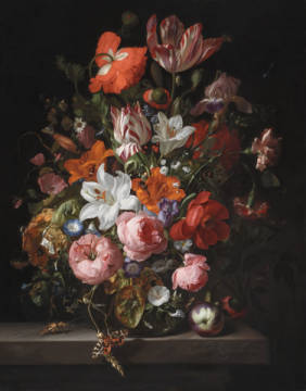 Kunstdruck, individuelle Kunstkarte: Rachel Ruysch, Still life of roses, lilies, tulips and other flowers in a glass vase with a Brindled Beauty on a stone ledge, 1704