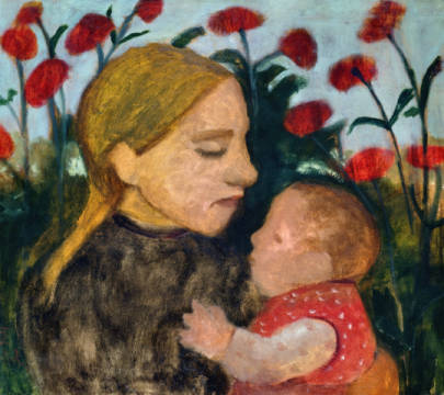 Kunstdruck, individuelle Kunstkarte: Paula Modersohn-Becker, Mother and Child, c.1904